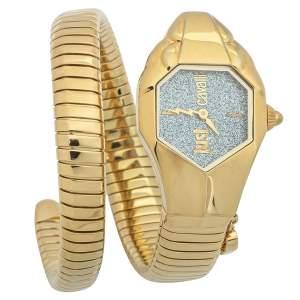 Just Cavalli Glitter Silver Yellow Gold Plated Stainless Steel Serpent JC1L001M0135 Women's Wristwatch 35mm