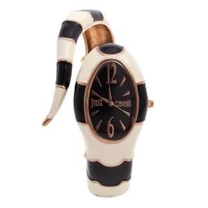 Just Cavalli Black Enamel & Gold Tone Metal Poison 7253153506 Women's Wristwatch 27 mm