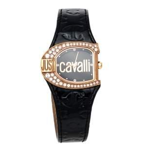 Just Cavalli Black Rose Gold Plated Stainless Steel JC Logo 2H 7251160525 Women's Wristwatch 35 mm