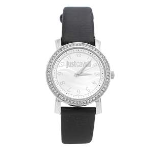 Just Cavalli Silver Stainless Steel Leather Moon 3H R7251103501 Women's Wristwatch 38 mm