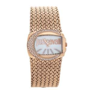Just Cavalli Mother of Pearl Rose Gold Tone Stainless Steel 7253277002 Women's Wristwatch 34 mm