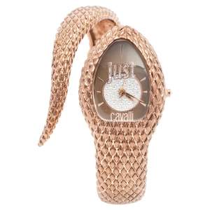 Just Cavalli Brown Rose Gold Plated Stainless Snake R7253153501 Women's Wristwatch 27 mm
