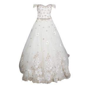 Justin Alexander Signature White Off Shoulder Floral Embroidered Embellished Tulle Wedding Gown M
