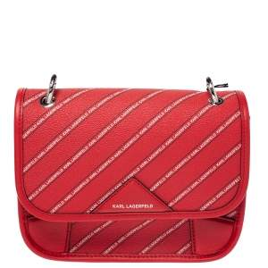 Karl Lagerfeld Red Coated Canvas K/Stripe Logo Crossbody Bag