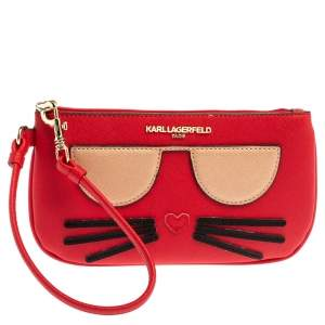 Karl Lagerfeld Red Leather Choupette Wristlet Clutch