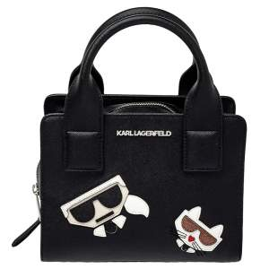 Karl Lagerfeld Black Faux Leather K/Klassik Satchel