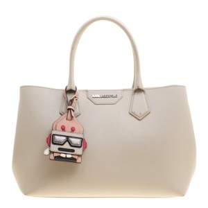 Karl Lagerfeld Grey Textured Leather Tote