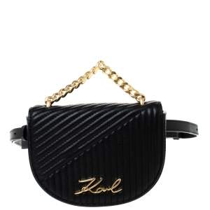Karl Lagerfeld Black Quilted Leather Belt Bag