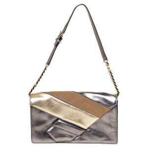 Karl Lagerfeld Metallic Leather and Suede Flap Shoulder Bag