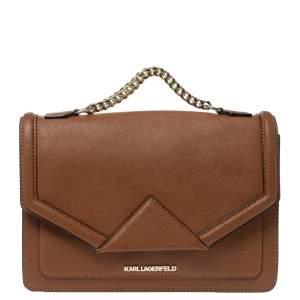 Karl Lagerfeld Brown Leather K/Klassik Shoulder Bag