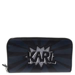Karl Lagerfeld Black/Blue Leather Zip Around Wallet