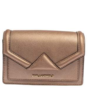 Karl Lagerfeld Metallic Rose Gold Leather Mini K/Klassic Crossbody Bag