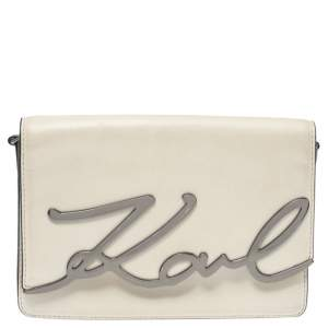 Karl Lagerfeld Beige Leather K/Signature Crossbody Bag