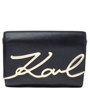 Karl Lagerfeld Black Leather K/Signature Crossbody Bag