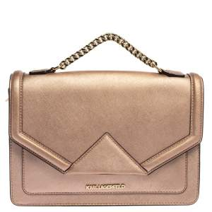 Karl Lagerfeld Metallic Rose Gold Leather K/Klassik Shoulder Bag