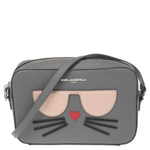 Karl Lagerfeld Grey Leather Maybelle Choupette Crossbody Bag