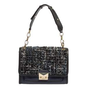Karl Lagerfeld Blue/Black Leather and Tweed K/Kuilted Flap Shoulder Bag