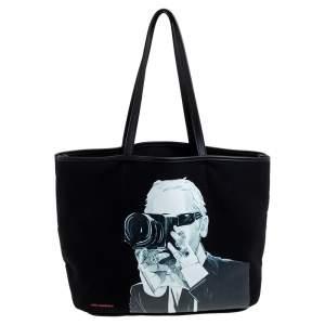 حقيبة يد كارل لاغرفيلد شوبر جلد و كانفاس مطبوع كارل لاغرفيلد أسود
