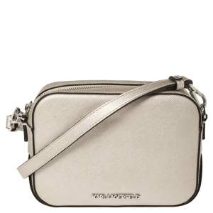 Karl Lagerfeld Metallic Silver Leather Camera Crossbody Bag