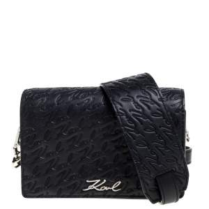 Karl Lagerfeld Black Signature Embossed Leather Flap Shoulder Bag
