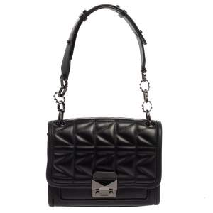 Karl Lagerfeld Black Quilted Leather Shoulder Bag