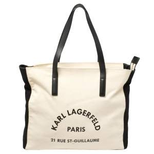 Karl Lagerfeld Cream White/Black Canvas Rue St Guillaume Tote