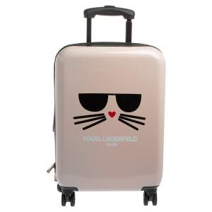 Karl Lagerfeld Light Pink Plastic Kat Expandable 4 Wheel Luggage