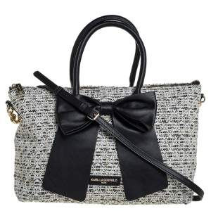 Karl Lagerfeld White/Black Tweed and Leather Kris Bow Tote