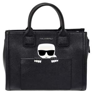 Karl Lagerfeld Black Saffiano Leather K/Ikonik Tote