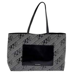 Karl Lagerfeld Black/White Logo Print Patent Vinyl and Leather Open Tote