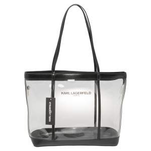 Karl Lagerfeld Black PVC and Leather Clear Swim Tote