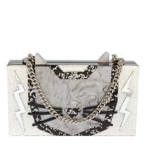 Karl Lagerfeld Black/Silver Glitter Acrylic Choupette Minaudiere Chain Box Clutch