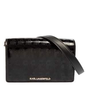 Karl Lagerfeld Black Logo Embossed Patent Leather Flap Shoulder Bag