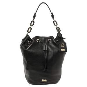 Karl Lagerfeld Black Pebble Leather Drawstring Bucket Bag