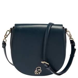 Karl Lagerfeld Teal Blue Leather K/Pura Shoulder Bag