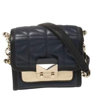Karl Lagerfeld Navy Blue/Black Leather K/Kuilted Crossbody Bag