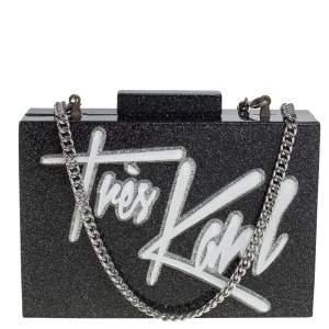 Karl Lagerfeld Black Glitter Acrylic Tres Karl Chain Box Clutch
