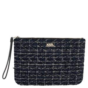 Karl Lagerfeld Blue/Black Quilted Tweed and Leather Zip Clutch