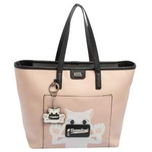 Karl Lagerfeld Salmon Pink/Black Coated Canvas and Leather Team Karl Tote