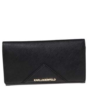 Karl Lagerfeld Black Leather Long Trifold Wallet