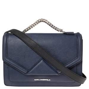 Karl Lagerfeld Blue Leather K/Klassik Shoulder Bag