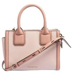 Karl Lagerfeld Two Tone Pink Leather Mini K Klassik Tote