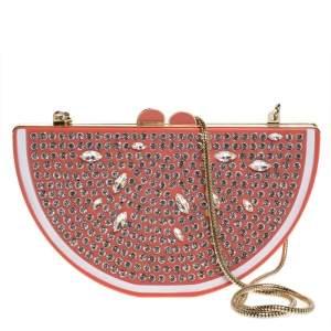 Kate Spade Coral Crystal Embellished Resin Flights Of Fancy Grapefruit Slice Clutch