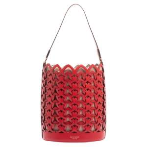 Kate Spade Red Leather Dorie Medium Bucket Bag