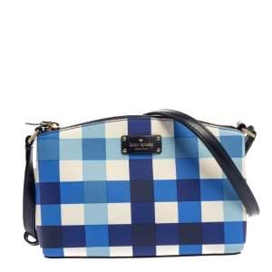 Kate Spade Blue Pacific Gingham Print PVC Grove Street Millie Crossbody Bag