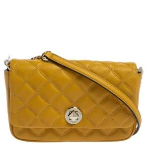 Kate Spade Yellow Quilted Leather Turnlock Flap Crossbody Bag