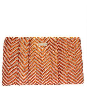 Kate Spade Orange/White Woven Straw Bungalow Breeze April Clutch