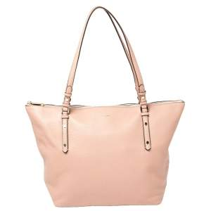 Kate Spade Pink Leather Large Polly Top Zip Tote