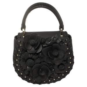 حقيبة كيت سبيد ماديسون لايدن جلد مزينة بالزهور سوداء بيد علوية