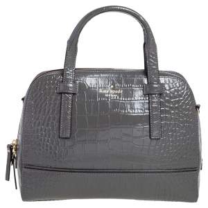 Kate Spade Glossy Dark Grey Croc Embossed Leather Riverside Street Felix Satchel